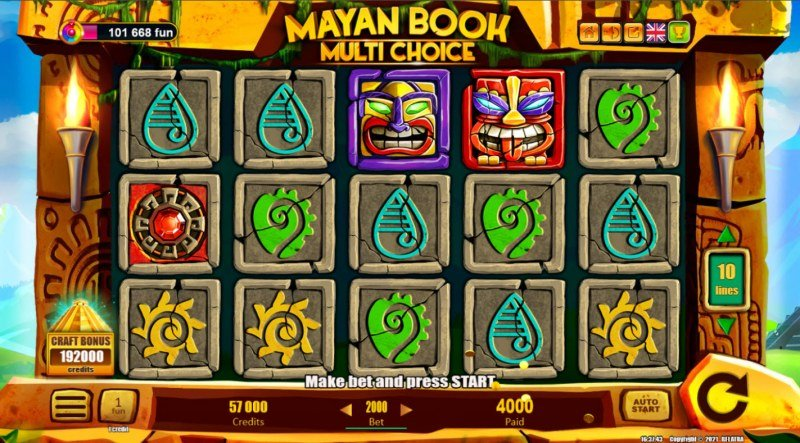 Mayan Book Multi Choice :: A four of a kind win