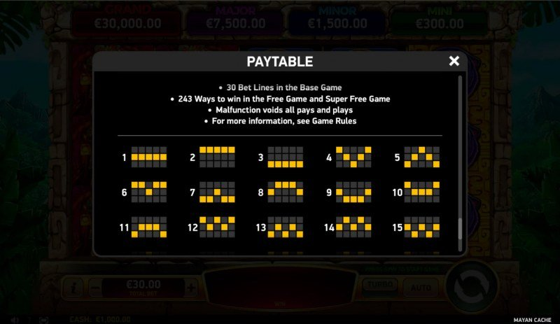 Mayan Cache :: Paylines 1-30