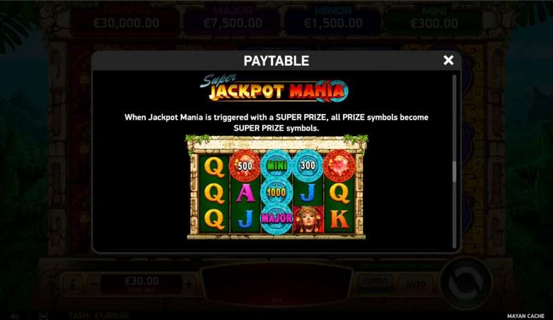 Mayan Cache :: Jackpot Rules
