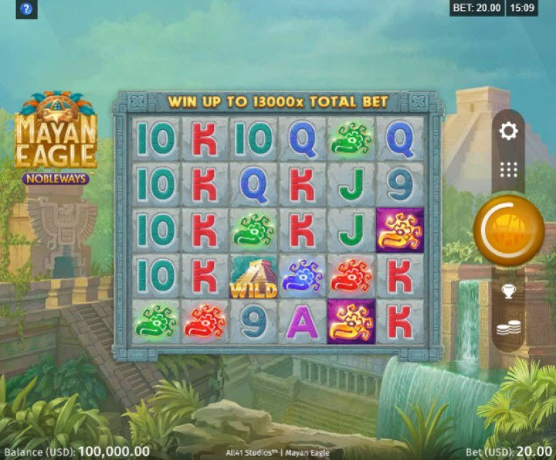 Play slots at Mummys Gold: Mummys Gold featuring the Video Slots Mayan Eagle with a maximum payout of $260,000