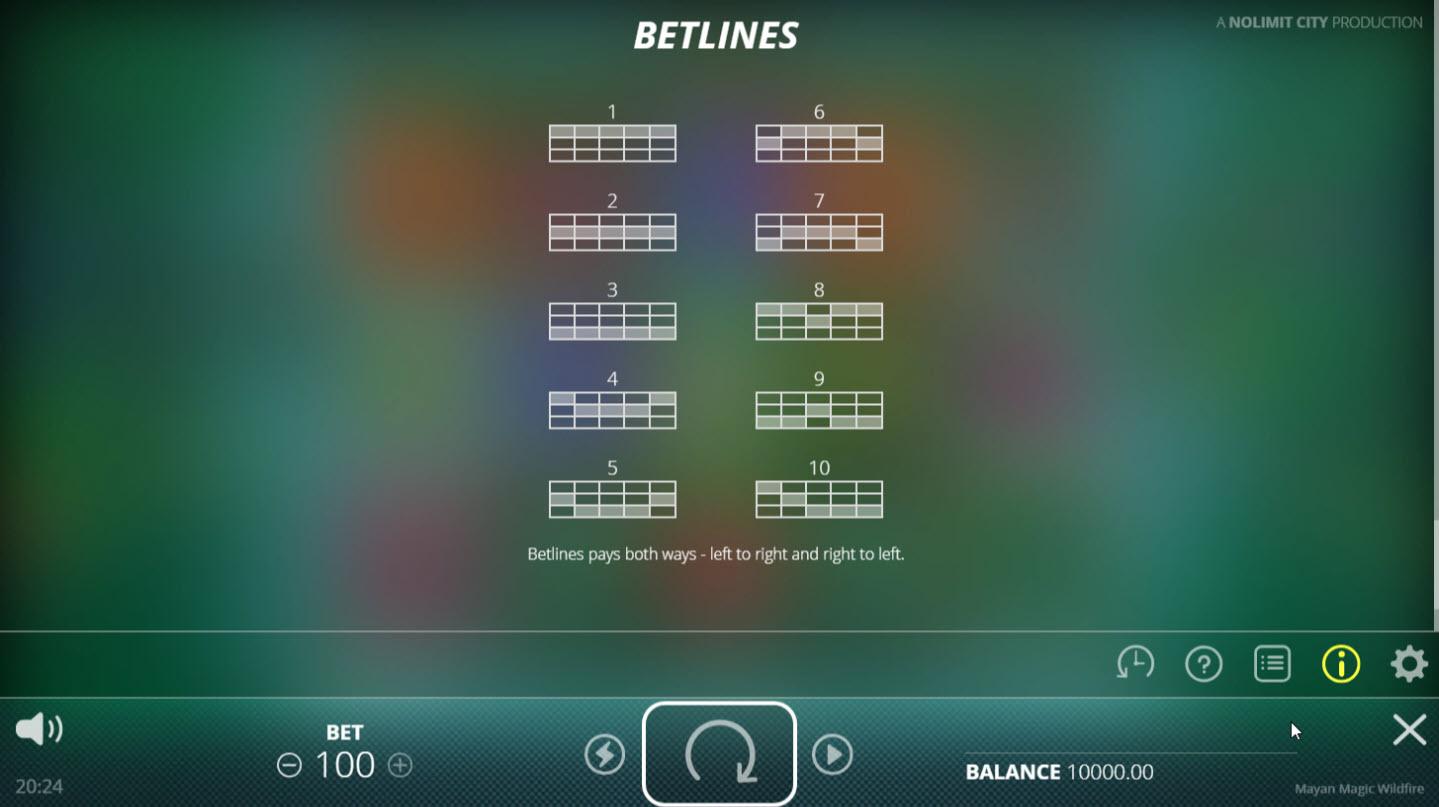 Mayan Magic Wildfire :: Paylines 1-10