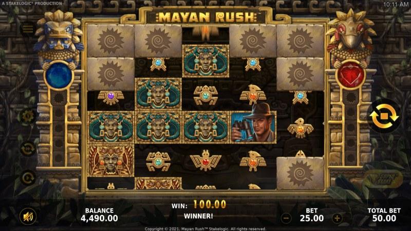 Mayan Rush :: A three of a kind win