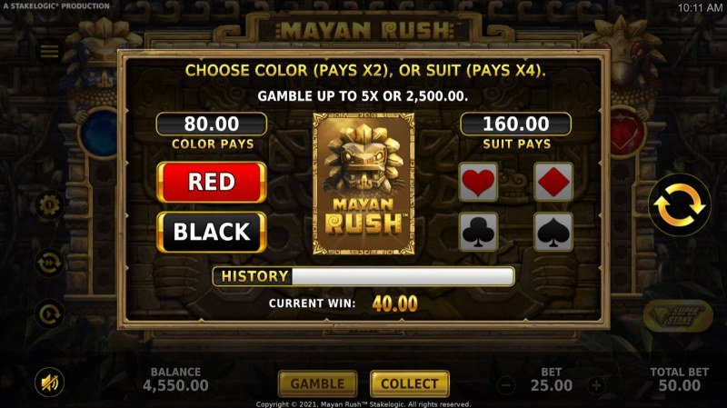 Mayan Rush :: Gamble feature is available after every win