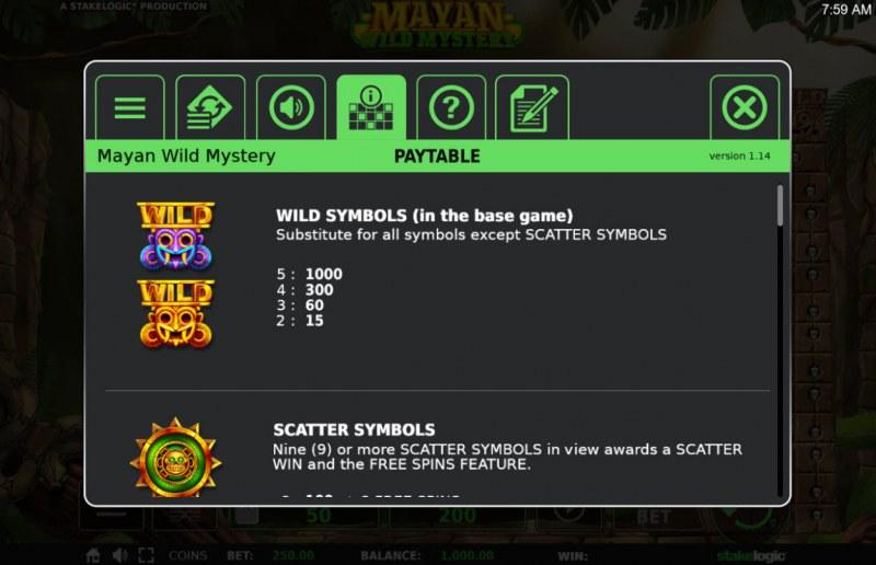 Mayan Wild Mystery :: Wild Symbols Rules