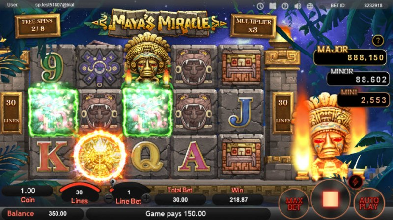 Maya's Miracle :: Free Spins Game Board