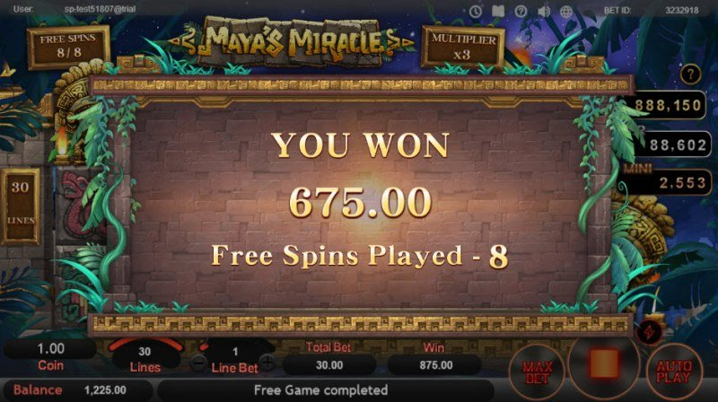 Maya's Miracle :: Total free spins payout