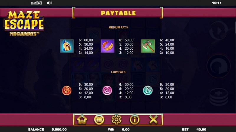 Maze Escape :: Paytable - Low Value Symbols