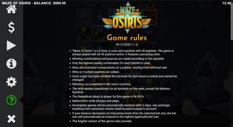 Maze of Osiris :: General Game Rules