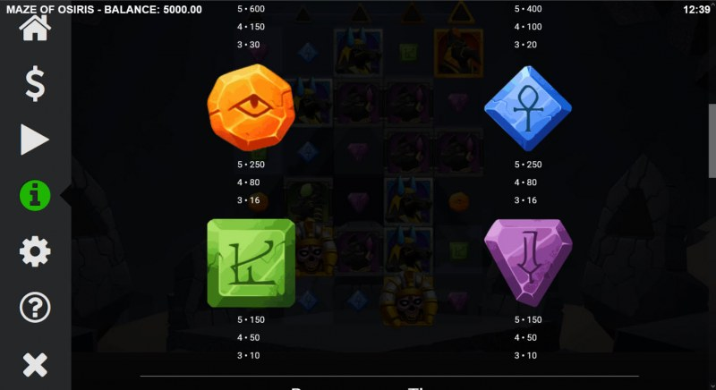 Maze of Osiris :: Paytable - Low Value Symbols