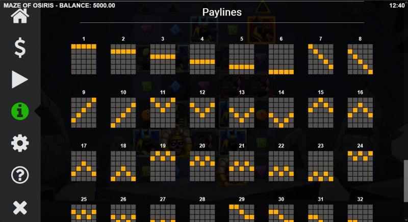 Maze of Osiris :: Paylines 1-20