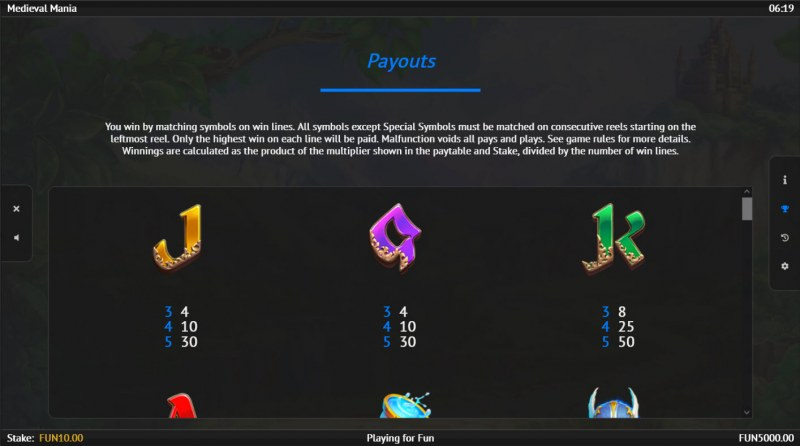 Medieval Mania :: Paytable - Low Value Symbols