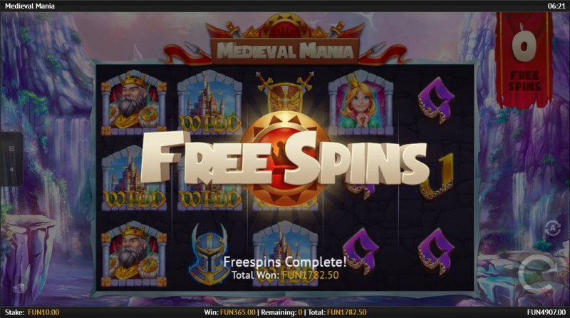 Medieval Mania :: Total Free Spins Payout