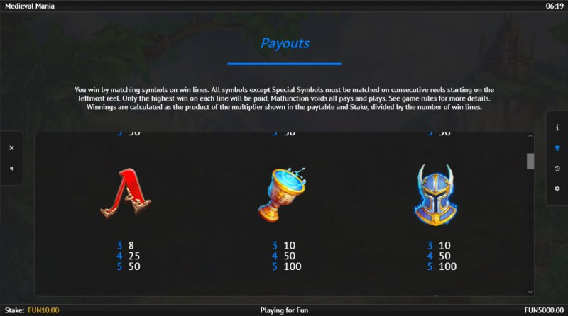 Medieval Mania :: Paytable - Medium Value Symbols