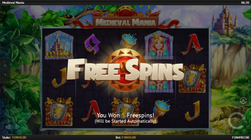Medieval Mania :: Scatter symbols triggers the free spins bonus feature