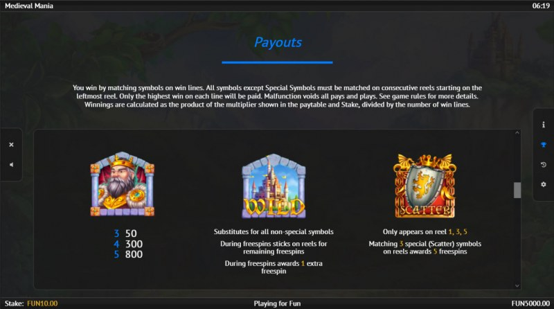 Medieval Mania :: Paytable - High Value Symbols