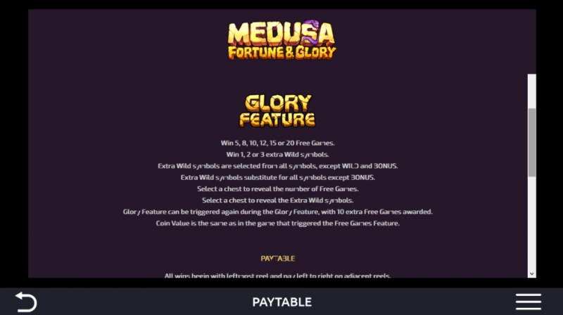 Medusa Fortune & Glory :: Glory Feature
