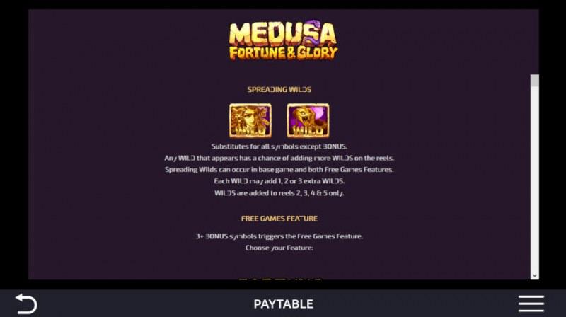 Medusa Fortune & Glory :: Wild Symbols Rules