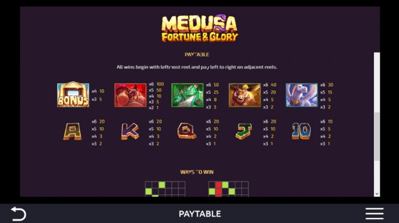 Medusa Fortune & Glory :: Paytable
