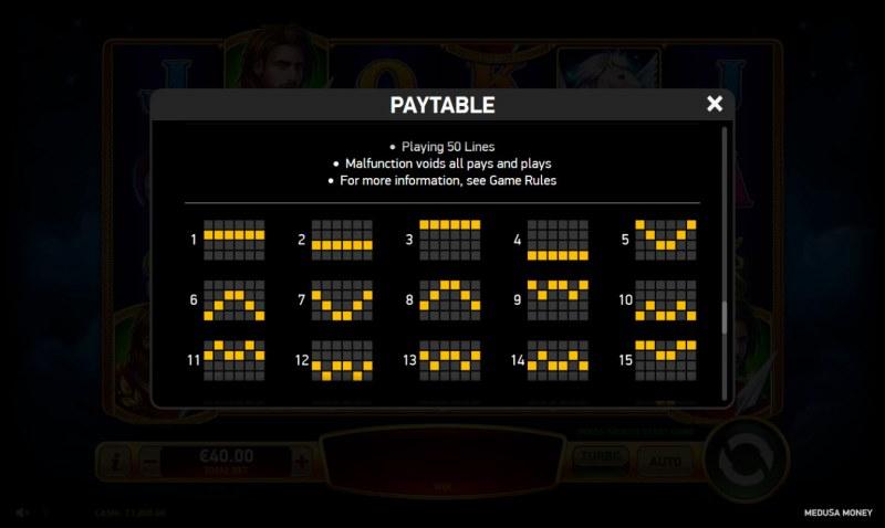 Medusa Money :: Paylines