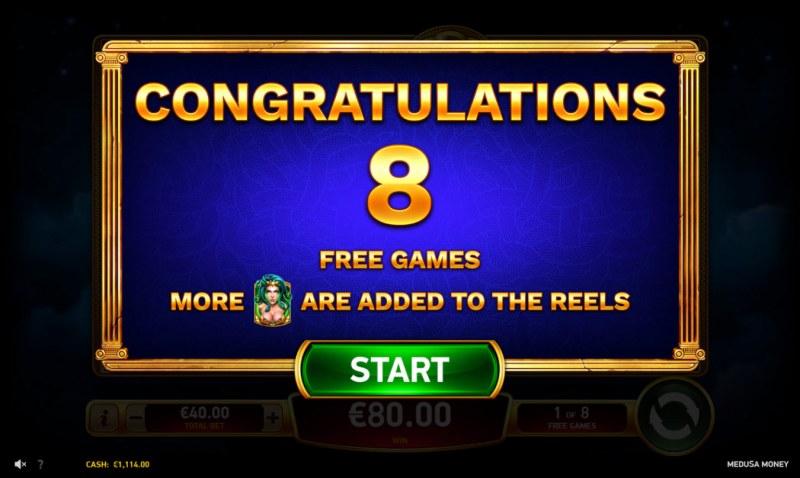 Medusa Money :: 8 Free Spins Awarded