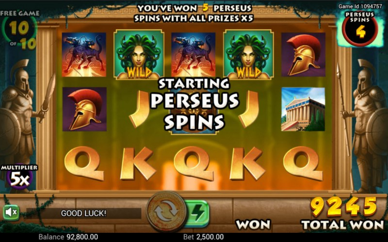 Medusa's Curse :: Perseus Spins activates at the end of the free games feature