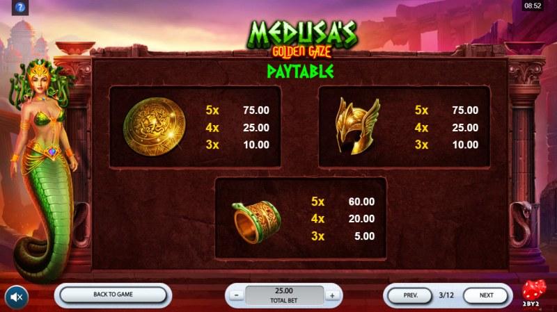 Medusa's Golden Gaze :: Paytable - Medium Value Symbols