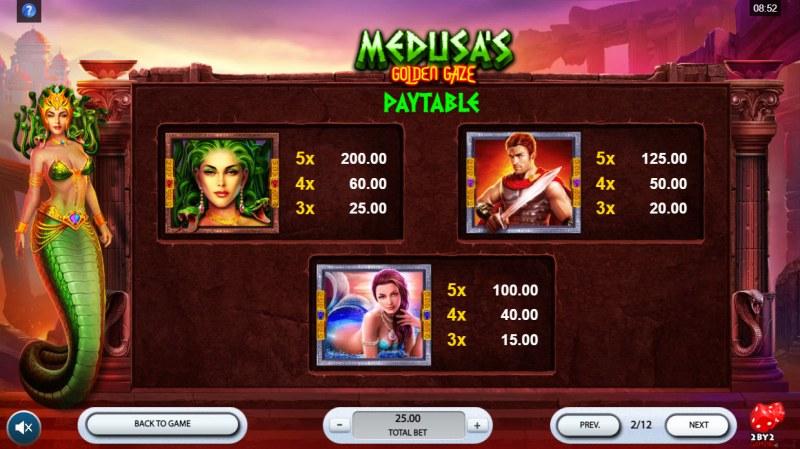 Medusa's Golden Gaze :: Paytable - High Value Symbols