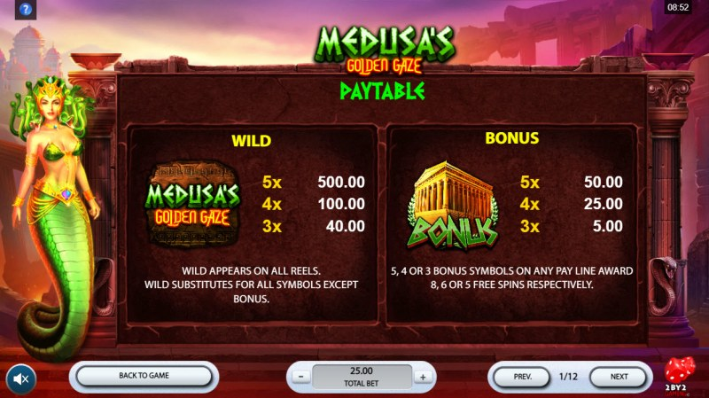 Medusa's Golden Gaze :: Wild and Scatter Rules