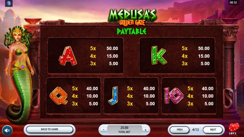 Medusa's Golden Gaze :: Paytable - Low Value Symbols