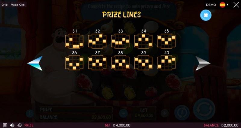 Mega Chef :: Prize Lines 31-40