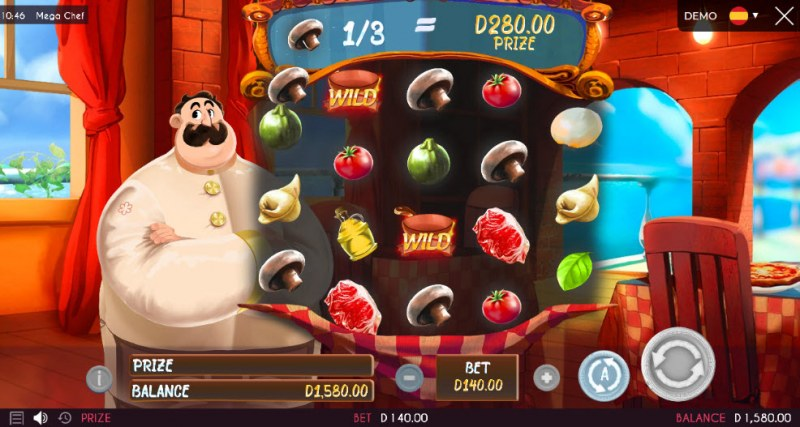 Mega Chef :: Collect matching recipe items from the reels and win an instant prize