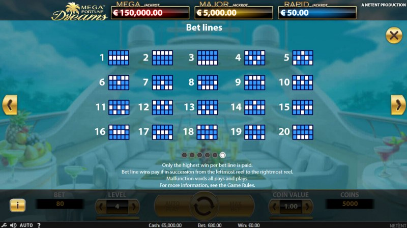 Mega Fortune Dreams :: Paylines 1-20