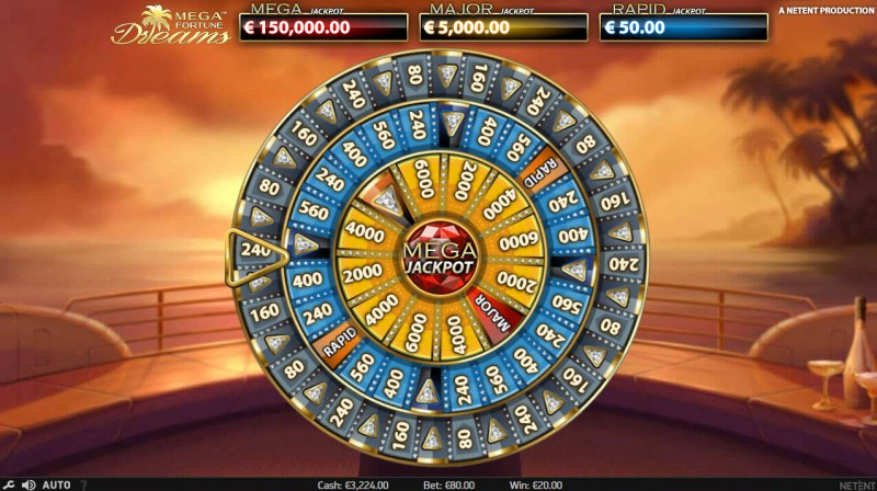 Mega Fortune Dreams :: Bonus Wheel Game Board