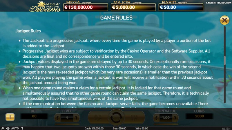 Mega Fortune Dreams :: Jackpot Rules
