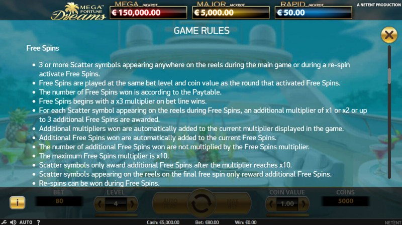 Mega Fortune Dreams :: Free Spins Rules