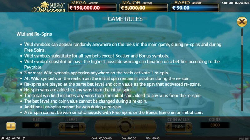 Mega Fortune Dreams :: General Game Rules