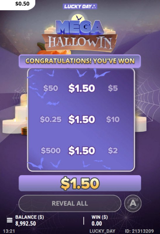 Mega Hallowin :: A three of a kind win