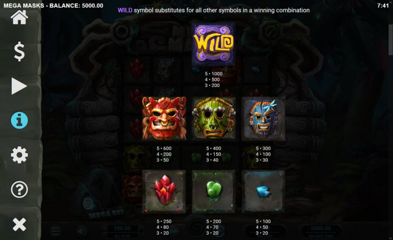 Mega Masks :: Paytable