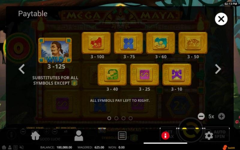 Mega Maya :: Paytable