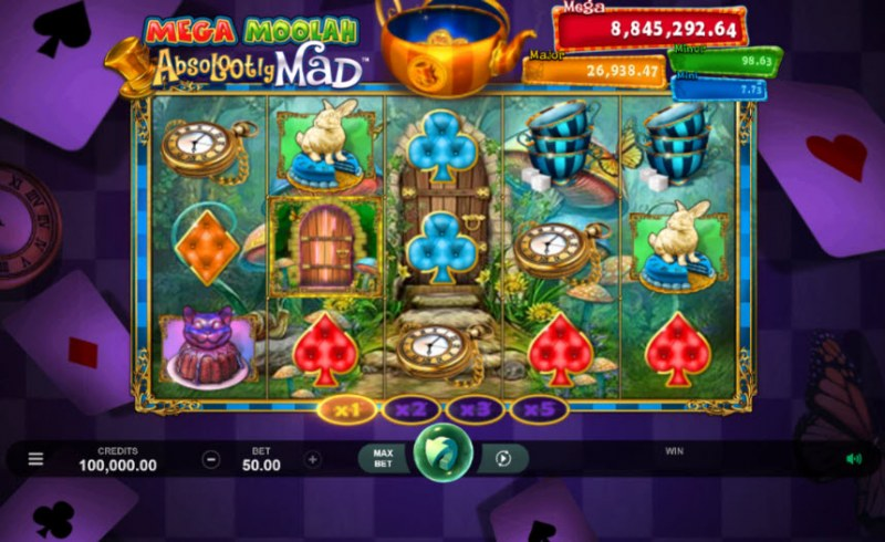 Play slots at Golden Palace: Golden Palace featuring the Video Slots Mega Moolah Absolooty Mad with a maximum payout of Jackpot