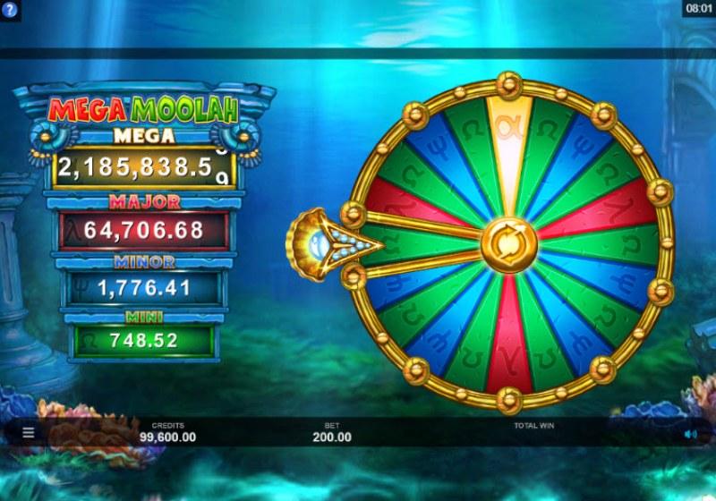 Mega Moolah Atlantean Treasures :: Bonus Wheel