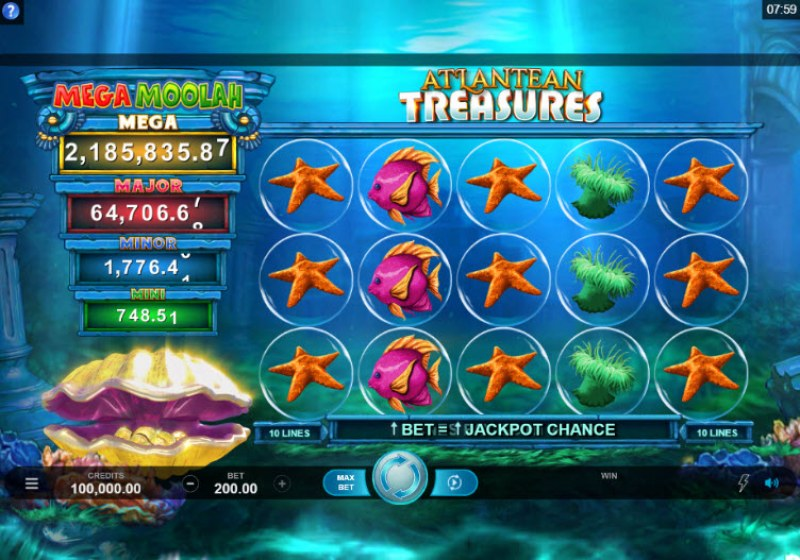 Play slots at Fortune Junction: Fortune Junction featuring the Video Slots Mega Moolah Atlantean Treasures with a maximum payout of Jackpot