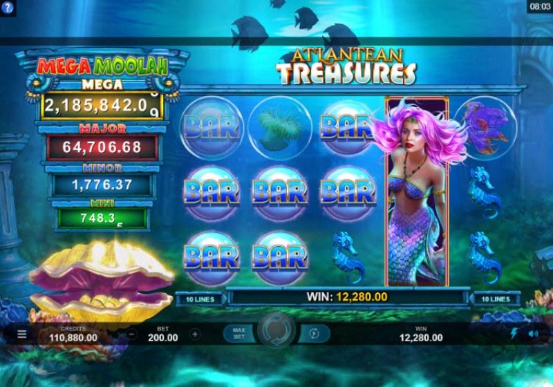 Mega Moolah Atlantean Treasures :: Multiple winning combinations leads to a big win