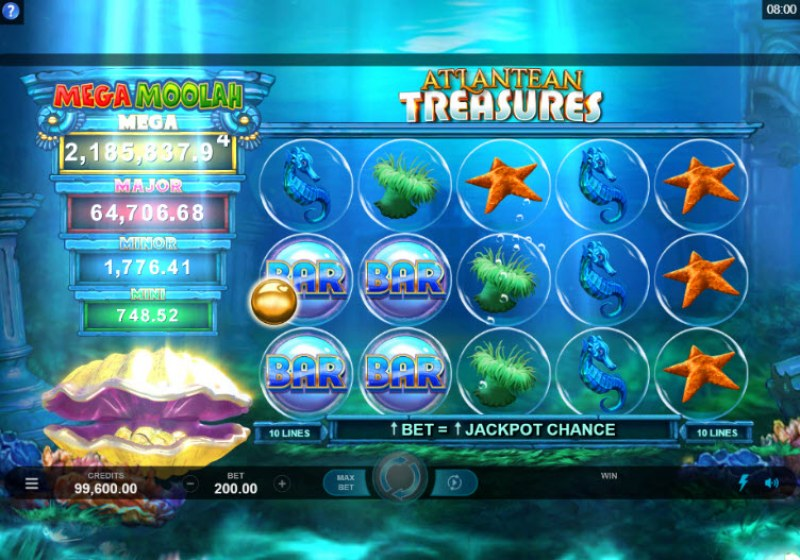 Mega Moolah Atlantean Treasures :: Collect gold coins for a chance at the progressive wheel feature
