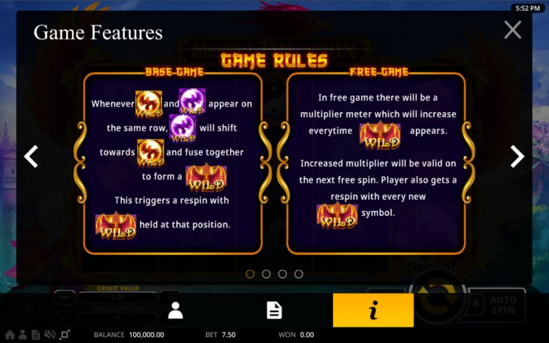 Mega Phoenix :: Wild Symbol Rules