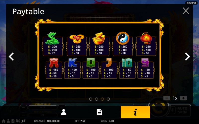 Mega Phoenix :: Paytable