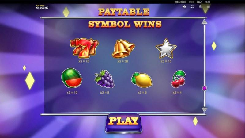 Mega Rise :: Paytable