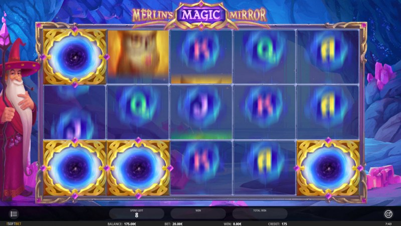 Merlin's Magic Mirror :: Mystery symbol appear randomly and remain sticky during free spins