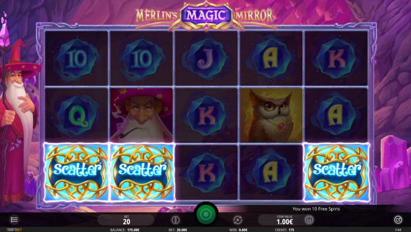 Merlin's Magic Mirror :: Scatter symbols triggers the free spins feature