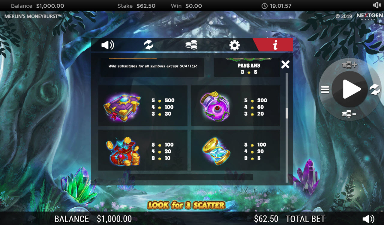 Play slots at Sin Spins: Sin Spins featuring the Video Slots Merlin's Money Burst with a maximum payout of $90,000